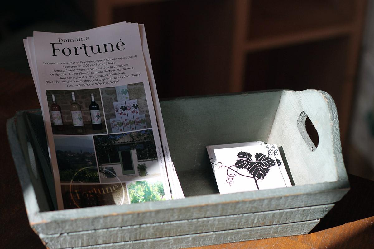 Cartes de visite et prospectus du Domaine Fortuné