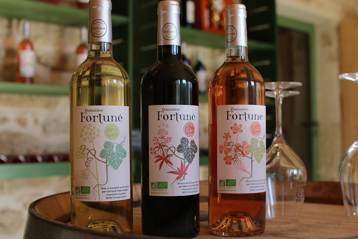 Trois vins bios (rouge, blanc, rosé) du domaine Fortuné